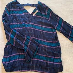 Jewel tones plaid Loft swing top with bell sleeves